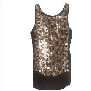 W by Worth Tops - W by WORTH Bronze Sequin Silk Chiffon Tunic Top